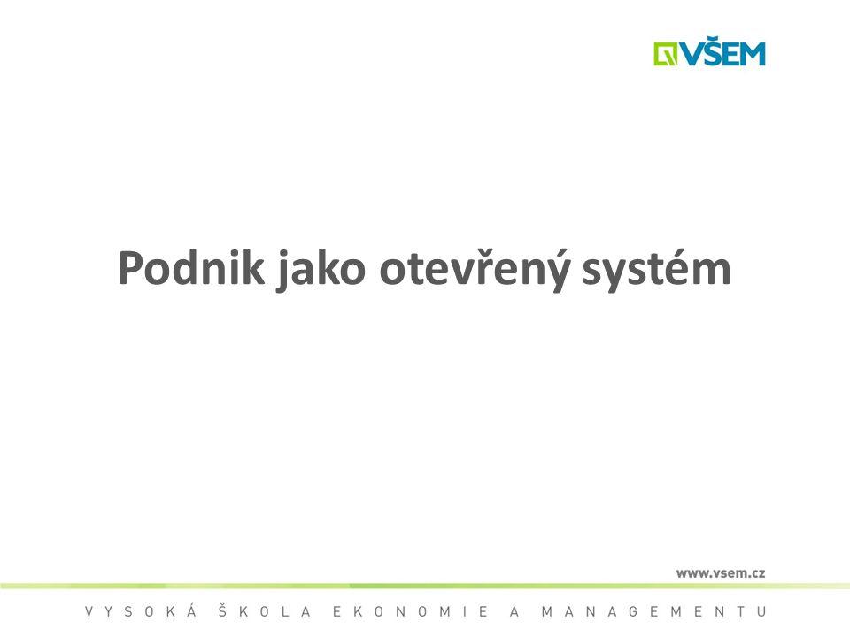 Podnik jako systém Systém je definován množinou prvků (vlastností) a množinou vazeb mezi nimi, které spolu určují vlastnosti, chování a funkce systému jako celku.