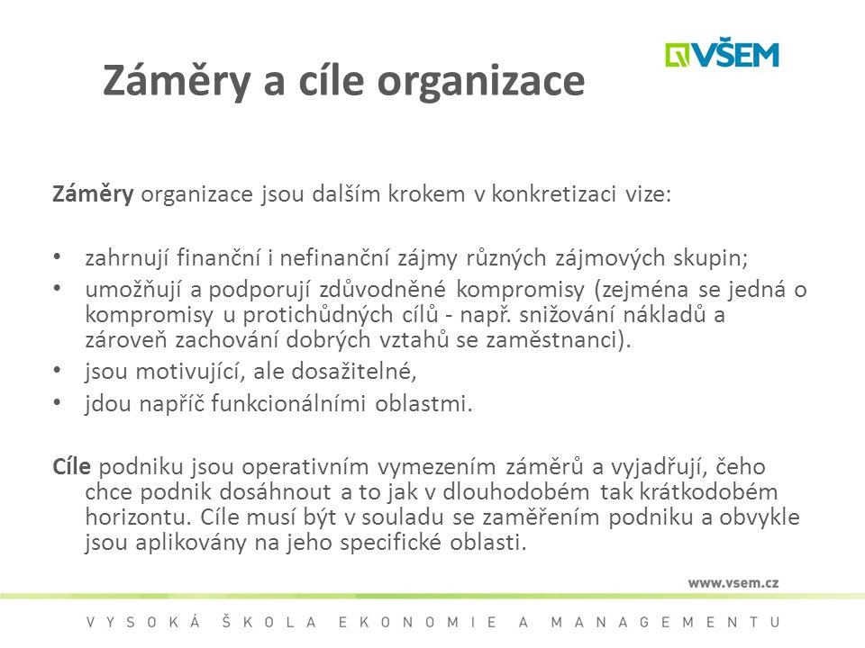 Záměry a cíle organizace Záměry organizace jsou dalším krokem v konkretizaci vize: zahrnují finanční i nefinanční zájmy různých zájmových skupin; umož