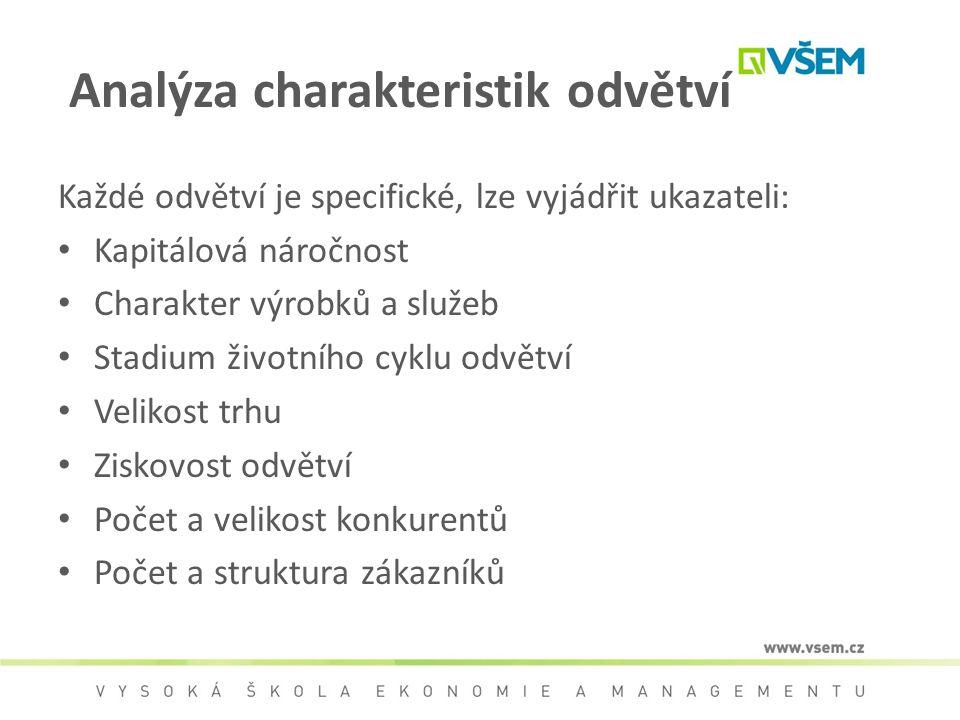 Analýza charakteristik odvětví Každé odvětví je specifické, lze vyjádřit ukazateli: Kapitálová náročnost Charakter výrobků a služeb Stadium životního