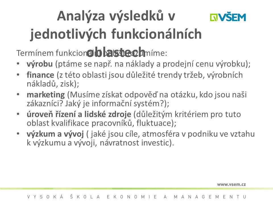 Analýza výsledků v jednotlivých funkcionálních oblastech Termínem funkcionální oblast rozumíme: výrobu (ptáme se např. na náklady a prodejní cenu výro