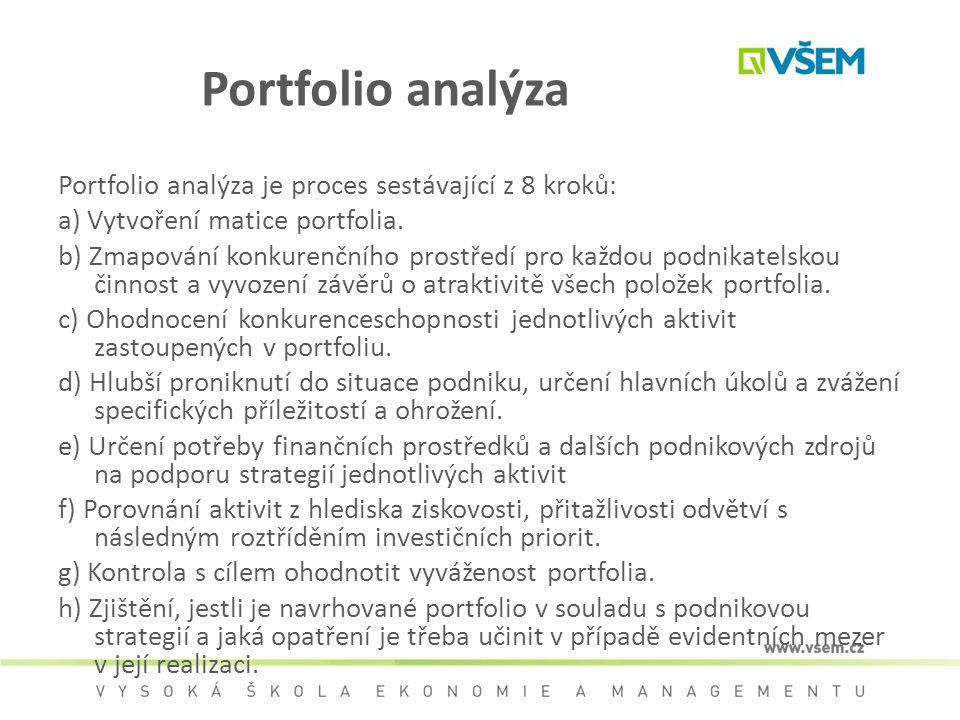 Portfolio analýza Portfolio analýza je proces sestávající z 8 kroků: a) Vytvoření matice portfolia. b) Zmapování konkurenčního prostředí pro každou po
