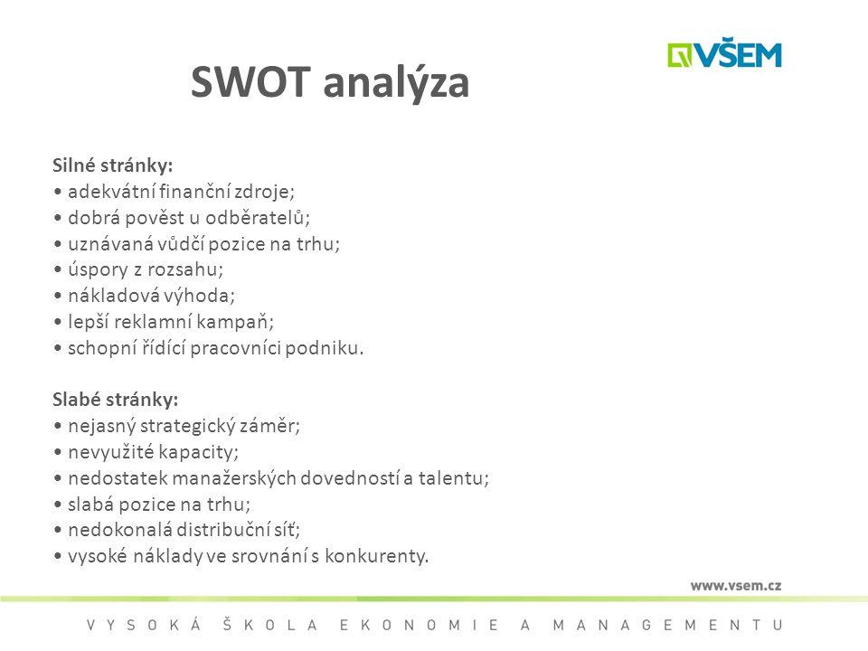 SWOT analýza Silné stránky: adekvátní finanční zdroje; dobrá pověst u odběratelů; uznávaná vůdčí pozice na trhu; úspory z rozsahu; nákladová výhoda; l
