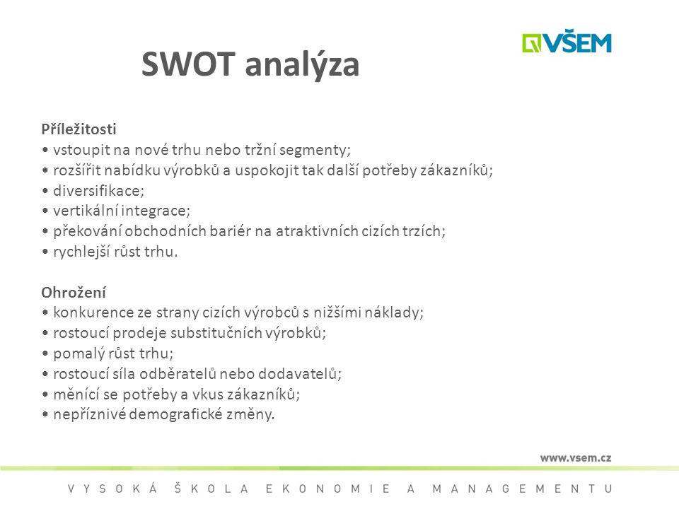 SWOT analýza Příležitosti vstoupit na nové trhu nebo tržní segmenty; rozšířit nabídku výrobků a uspokojit tak další potřeby zákazníků; diversifikace;