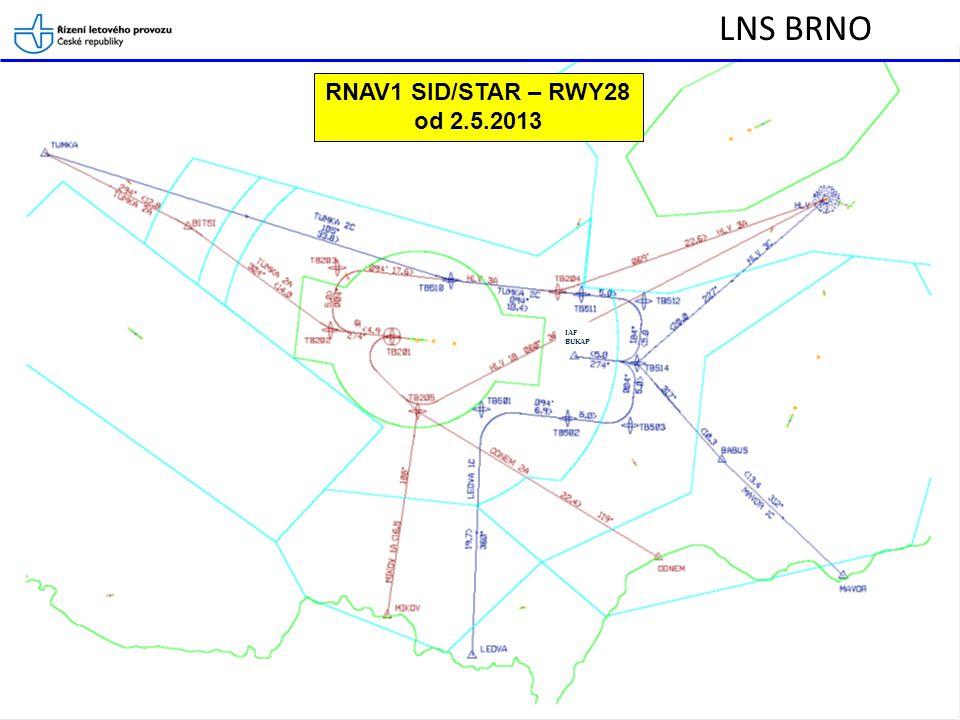 LNS BRNO Způsob řízení na RNAV1 SID a STAR LKTB a řízení letadel neschopných RNAV Posádky letadel při počátečním navázání spojení s TWR/APP jsou povinni uvést pokud nejsou schopny/ vybaveny pro RNAV1.