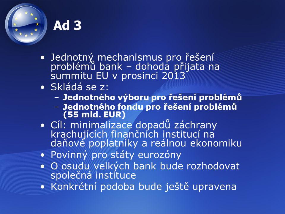 Ad 3 Jednotný mechanismus pro řešení problémů bank – dohoda přijata na summitu EU v prosinci 2013 Skládá se z: –Jednotného výboru pro řešení problémů