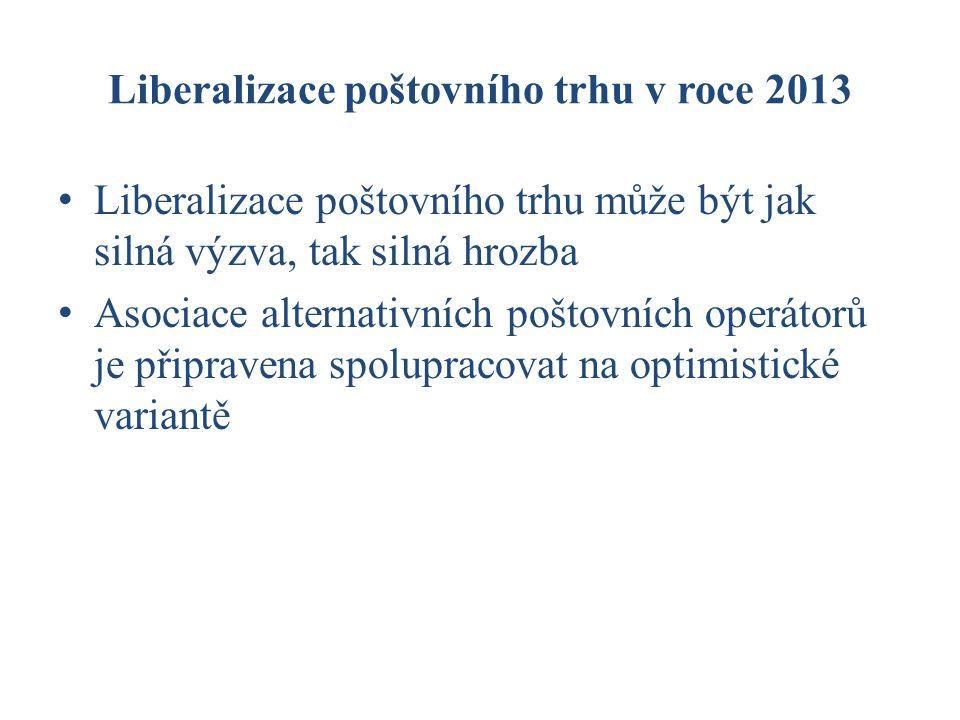 Liberalizace poštovního trhu v roce 2013 Liberalizace poštovního trhu může být jak silná výzva, tak silná hrozba Asociace alternativních poštovních operátorů je připravena spolupracovat na optimistické variantě