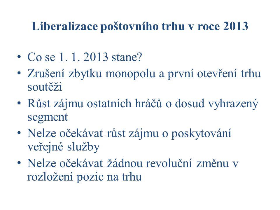 Liberalizace poštovního trhu v roce 2013 Co se 1. 1.
