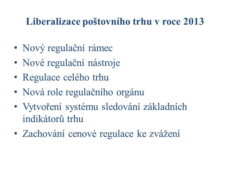 Liberalizace poštovního trhu v roce 2013 Nový regulační rámec Nové regulační nástroje Regulace celého trhu Nová role regulačního orgánu Vytvoření systému sledování základních indikátorů trhu Zachování cenové regulace ke zvážení