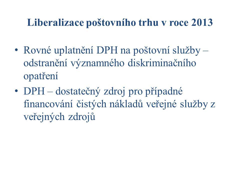 Liberalizace poštovního trhu v roce 2013 Rovné uplatnění DPH na poštovní služby – odstranění významného diskriminačního opatření DPH – dostatečný zdroj pro případné financování čistých nákladů veřejné služby z veřejných zdrojů