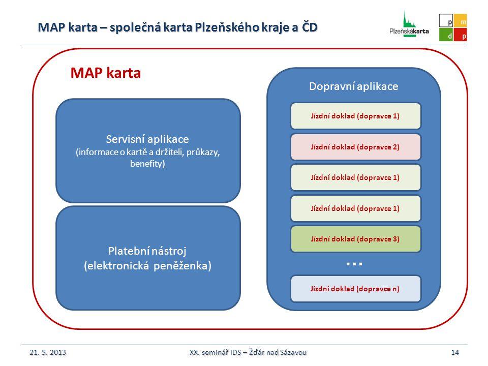 MAP karta – společná karta Plzeňského kraje a ČD 14 MAP karta 21.