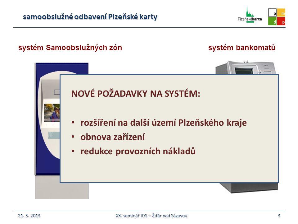 samoobslužné odbavení Plzeňské karty systém Samoobslužných zón  26 samoobslužných automatů v rámci Plzně a okolí (na stávajícím území IDP)  34 % všech transakcí (odbavení Plzeňské karty) realizováno samoobslužně 57 % samoobslužného nabití elektronických peněženek  zařízení v provozu od r.