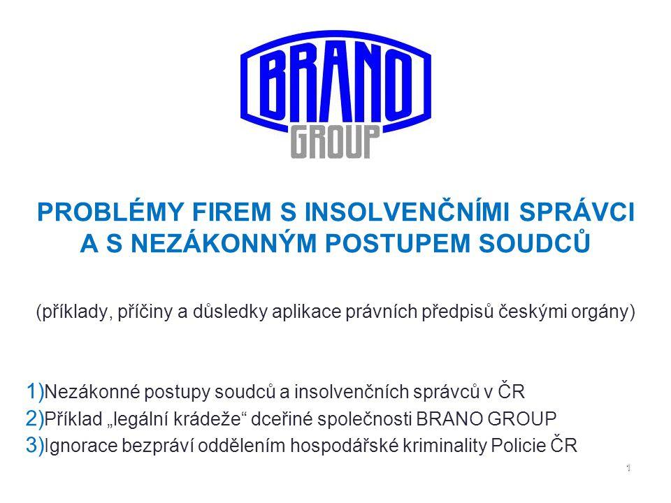 1111111 PROBLÉMY FIREM S INSOLVENČNÍMI SPRÁVCI A S NEZÁKONNÝM POSTUPEM SOUDCŮ (příklady, příčiny a důsledky aplikace právních předpisů českými orgány)