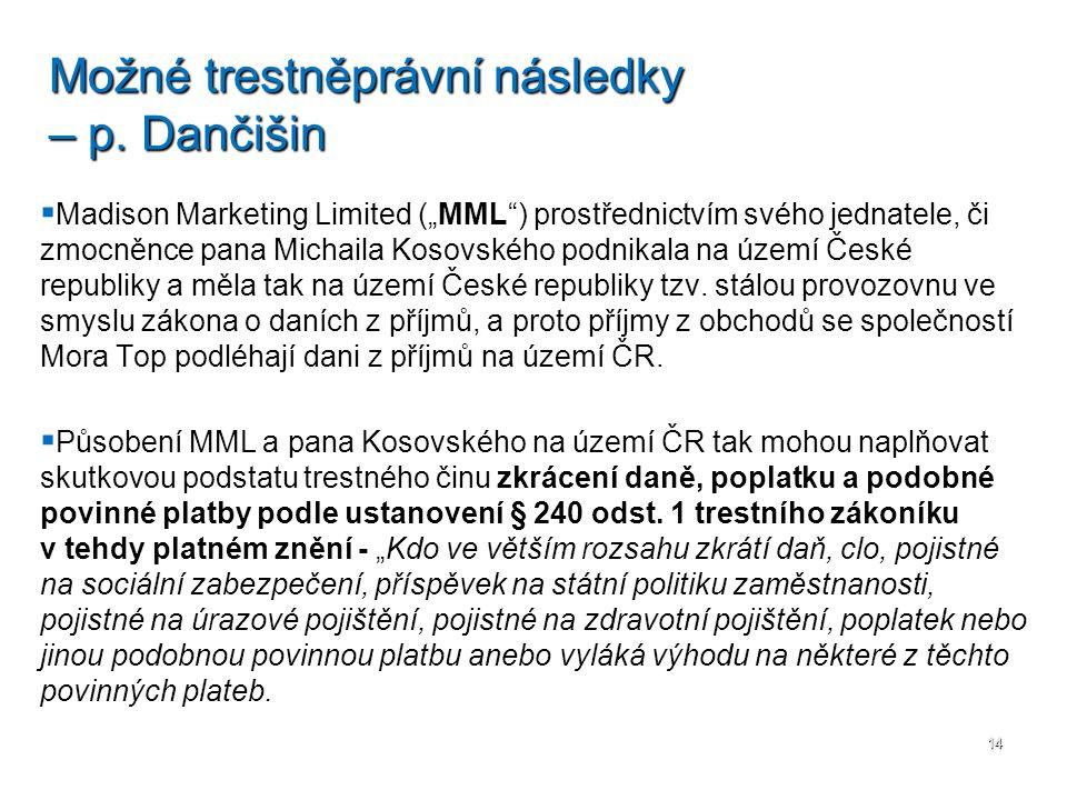 """  Madison Marketing Limited (""""MML"""") prostřednictvím svého jednatele, či zmocněnce pana Michaila Kosovského podnikala na území České republiky a měla"""