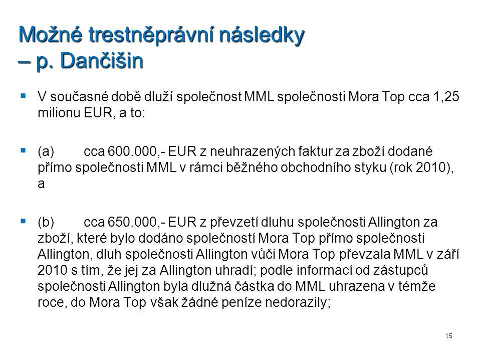   V současné době dluží společnost MML společnosti Mora Top cca 1,25 milionu EUR, a to:   (a) cca 600.000,- EUR z neuhrazených faktur za zboží dod