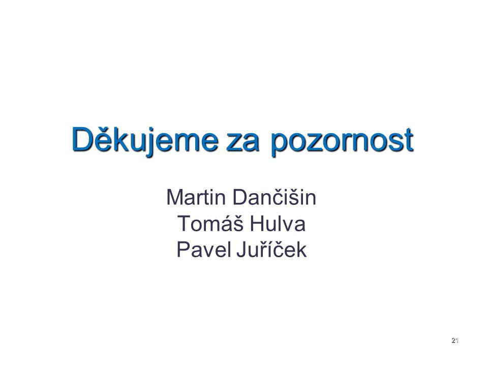 Děkujeme za pozornost Martin Dančišin Tomáš Hulva Pavel Juříček 21
