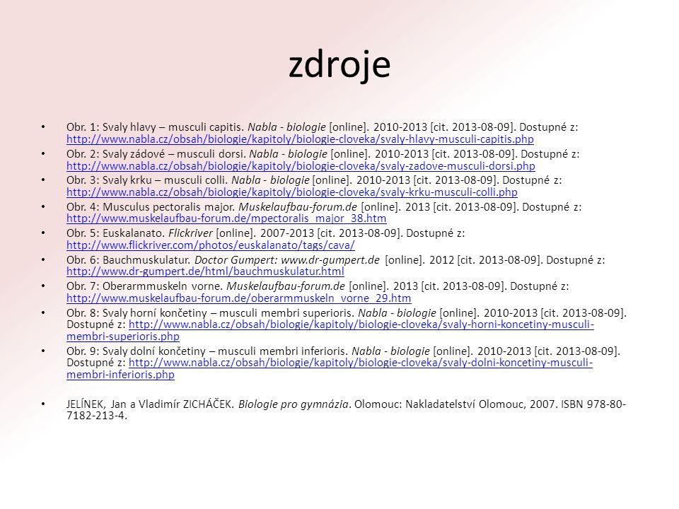 zdroje Obr. 1: Svaly hlavy – musculi capitis. Nabla - biologie [online]. 2010-2013 [cit. 2013-08-09]. Dostupné z: http://www.nabla.cz/obsah/biologie/k