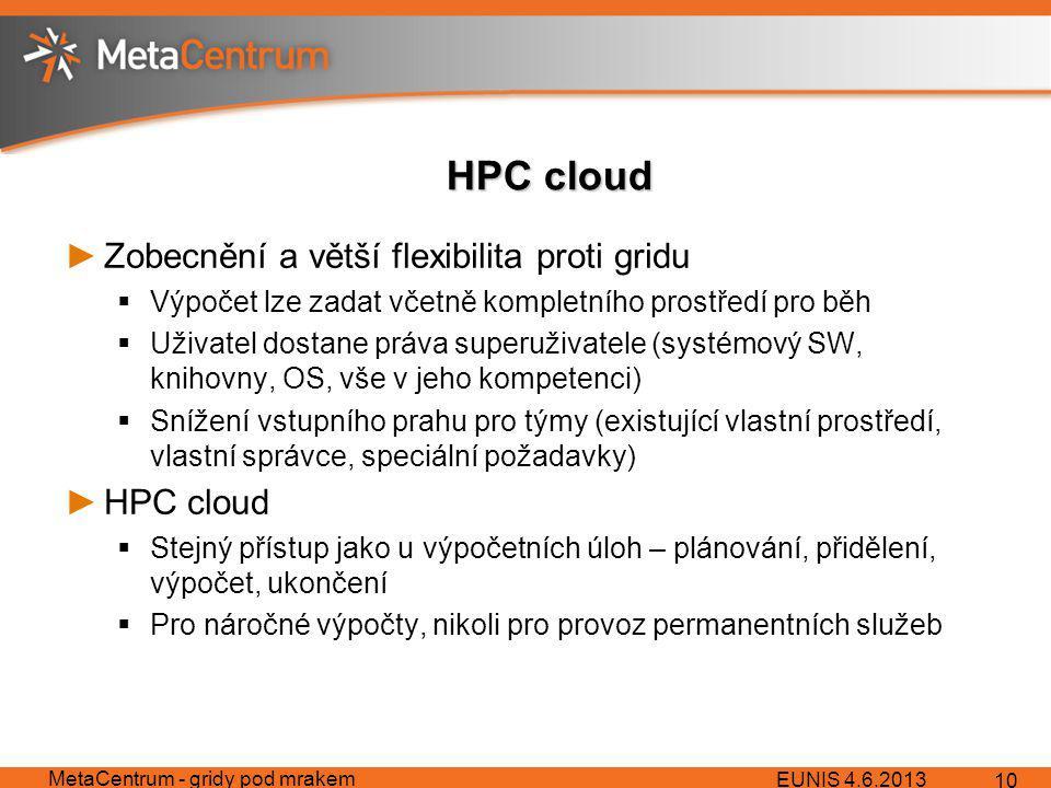 HPC cloud ►Zobecnění a větší flexibilita proti gridu  Výpočet lze zadat včetně kompletního prostředí pro běh  Uživatel dostane práva superuživatele (systémový SW, knihovny, OS, vše v jeho kompetenci)  Snížení vstupního prahu pro týmy (existující vlastní prostředí, vlastní správce, speciální požadavky) ►HPC cloud  Stejný přístup jako u výpočetních úloh – plánování, přidělení, výpočet, ukončení  Pro náročné výpočty, nikoli pro provoz permanentních služeb EUNIS 4.6.2013 MetaCentrum - gridy pod mrakem 10