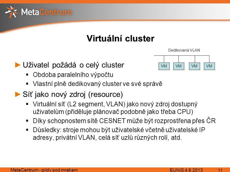 Virtuální cluster ►Uživatel požádá o celý cluster  Obdoba paralelního výpočtu  Vlastní plně dedikovaný cluster ve své správě ►Síť jako nový zdroj (resource)  Virtuální síť (L2 segment, VLAN) jako nový zdroj dostupný uživatelům (přiděluje plánovač podobně jako třeba CPU)  Díky schopnostem sítě CESNET může být rozprostřena přes ČR  Důsledky: stroje mohou být uživatelské včetně uživatelské IP adresy, privátní VLAN, celá síť uzlů různých rolí, atd.