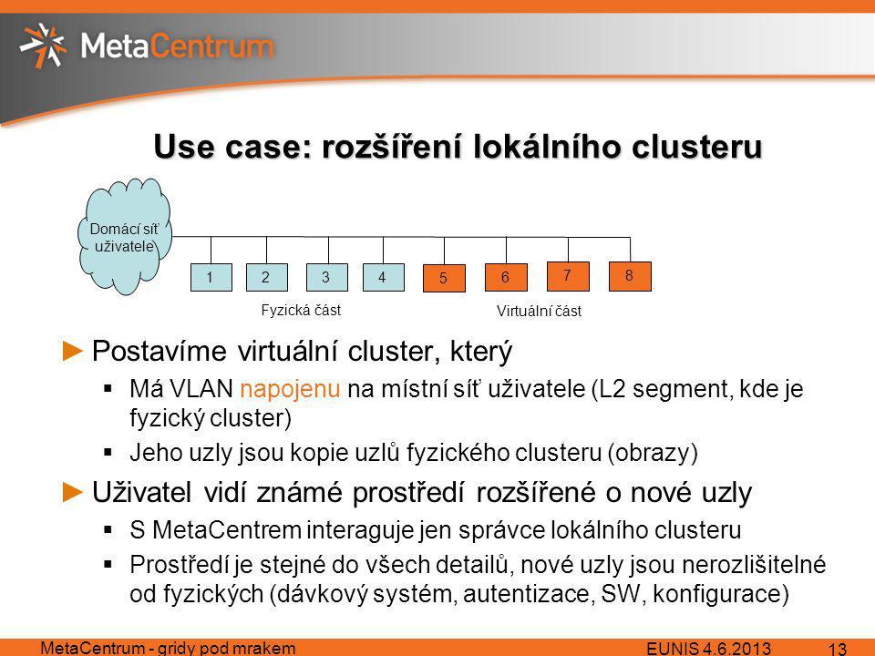 Use case: rozšíření lokálního clusteru ►Postavíme virtuální cluster, který  Má VLAN napojenu na místní síť uživatele (L2 segment, kde je fyzický cluster)  Jeho uzly jsou kopie uzlů fyzického clusteru (obrazy) ►Uživatel vidí známé prostředí rozšířené o nové uzly  S MetaCentrem interaguje jen správce lokálního clusteru  Prostředí je stejné do všech detailů, nové uzly jsou nerozlišitelné od fyzických (dávkový systém, autentizace, SW, konfigurace) EUNIS 4.6.2013 MetaCentrum - gridy pod mrakem 13 1234 5 6 78 Fyzická část Virtuální část Domácí síť uživatele