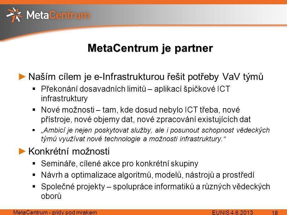 """MetaCentrum je partner ►Naším cílem je e-Infrastrukturou řešit potřeby VaV týmů  Překonání dosavadních limitů – aplikací špičkové ICT infrastruktury  Nové možnosti – tam, kde dosud nebylo ICT třeba, nové přístroje, nové objemy dat, nové zpracování existujících dat  """"Ambicí je nejen poskytovat služby, ale i posunout schopnost vědeckých týmů využívat nové technologie a možnosti infrastruktury. ►Konkrétní možnosti  Semináře, cílené akce pro konkrétní skupiny  Návrh a optimalizace algoritmů, modelů, nástrojů a prostředí  Společné projekty – spolupráce informatiků a různých vědeckých oborů EUNIS 4.6.2013 MetaCentrum - gridy pod mrakem 18"""