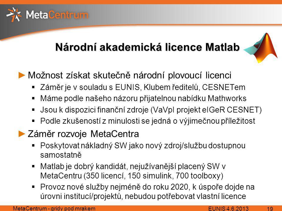 Národní akademická licence Matlab ►Možnost získat skutečně národní plovoucí licenci  Záměr je v souladu s EUNIS, Klubem ředitelů, CESNETem  Máme podle našeho názoru přijatelnou nabídku Mathworks  Jsou k dispozici finanční zdroje (VaVpI projekt eIGeR CESNET)  Podle zkušeností z minulosti se jedná o výjimečnou příležitost ►Záměr rozvoje MetaCentra  Poskytovat nákladný SW jako nový zdroj/službu dostupnou samostatně  Matlab je dobrý kandidát, nejužívanější placený SW v MetaCentru (350 licencí, 150 simulink, 700 toolboxy)  Provoz nové služby nejméně do roku 2020, k úspoře dojde na úrovni institucí/projektů, nebudou potřebovat vlastní licence EUNIS 4.6.2013 MetaCentrum - gridy pod mrakem 19
