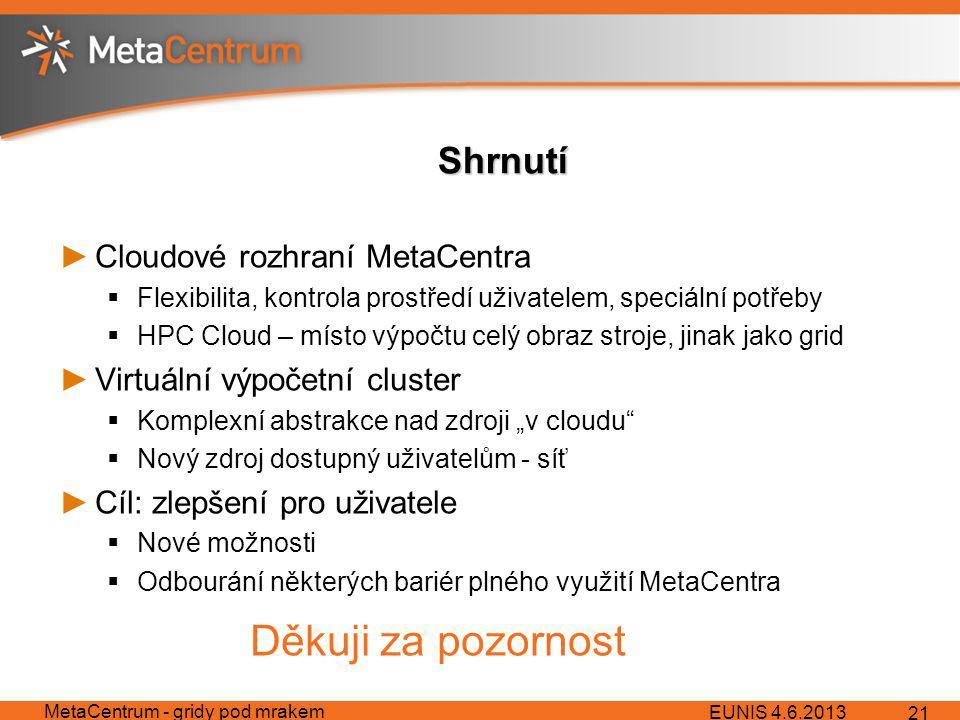 """Shrnutí ►Cloudové rozhraní MetaCentra  Flexibilita, kontrola prostředí uživatelem, speciální potřeby  HPC Cloud – místo výpočtu celý obraz stroje, jinak jako grid ►Virtuální výpočetní cluster  Komplexní abstrakce nad zdroji """"v cloudu  Nový zdroj dostupný uživatelům - síť ►Cíl: zlepšení pro uživatele  Nové možnosti  Odbourání některých bariér plného využití MetaCentra EUNIS 4.6.2013 MetaCentrum - gridy pod mrakem 21 Děkuji za pozornost"""