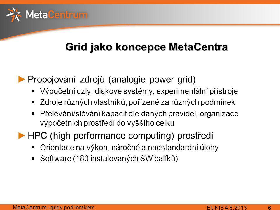 Grid jako koncepce MetaCentra ►Propojování zdrojů (analogie power grid)  Výpočetní uzly, diskové systémy, experimentální přístroje  Zdroje různých vlastníků, pořízené za různých podmínek  Přelévání/slévání kapacit dle daných pravidel, organizace výpočetních prostředí do vyššího celku ►HPC (high performance computing) prostředí  Orientace na výkon, náročné a nadstandardní úlohy  Software (180 instalovaných SW balíků) EUNIS 4.6.2013 MetaCentrum - gridy pod mrakem 6