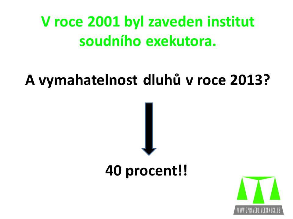 V roce 2001 byl zaveden institut soudního exekutora.