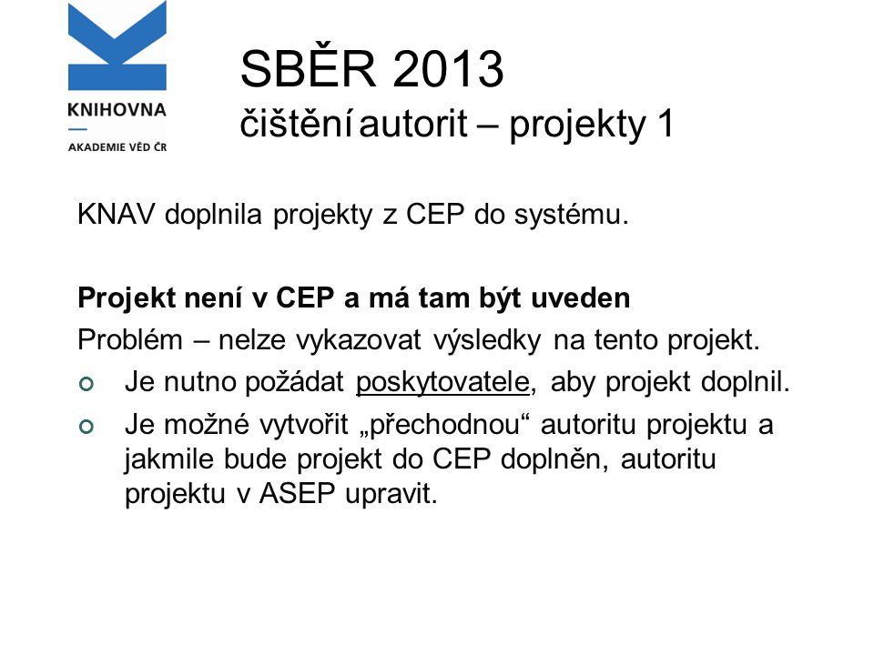 SBĚR 2013 čištění autorit – projekty 1 KNAV doplnila projekty z CEP do systému.