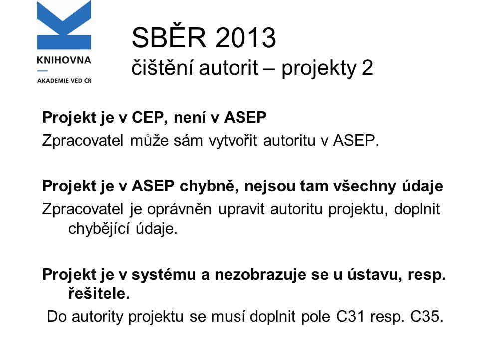 SBĚR 2013 čištění autorit – projekty 2 Projekt je v CEP, není v ASEP Zpracovatel může sám vytvořit autoritu v ASEP.