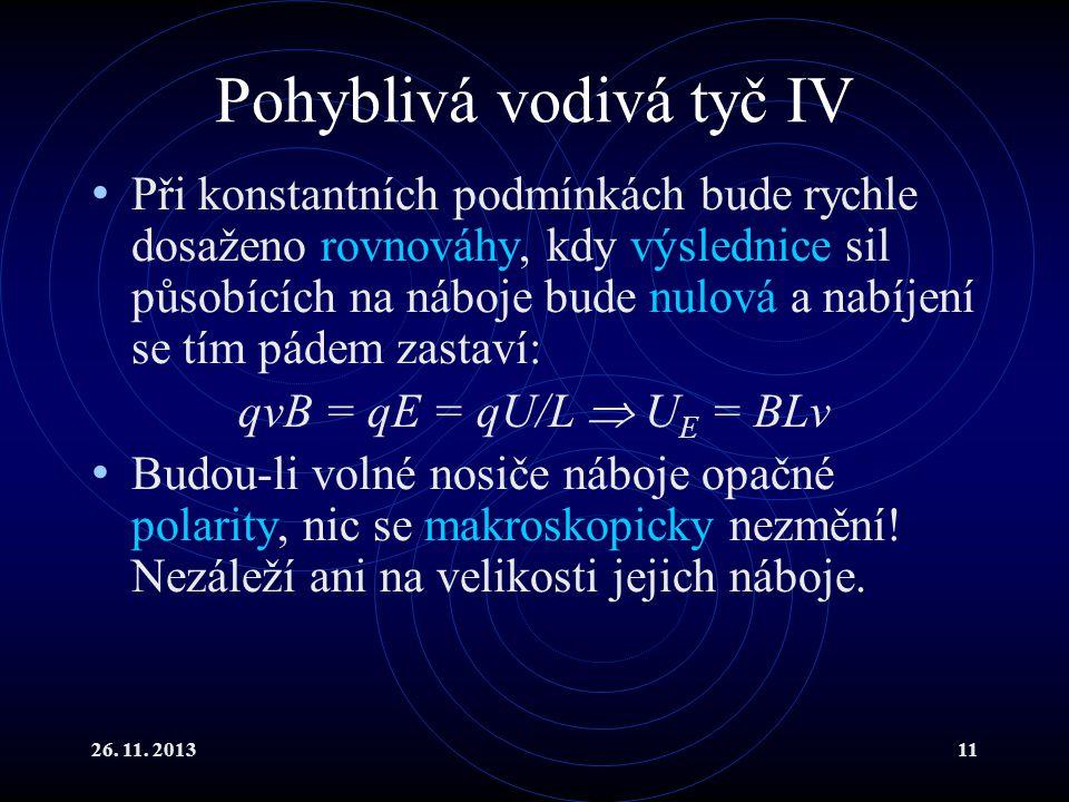 26. 11. 201311 Pohyblivá vodivá tyč IV Při konstantních podmínkách bude rychle dosaženo rovnováhy, kdy výslednice sil působících na náboje bude nulová