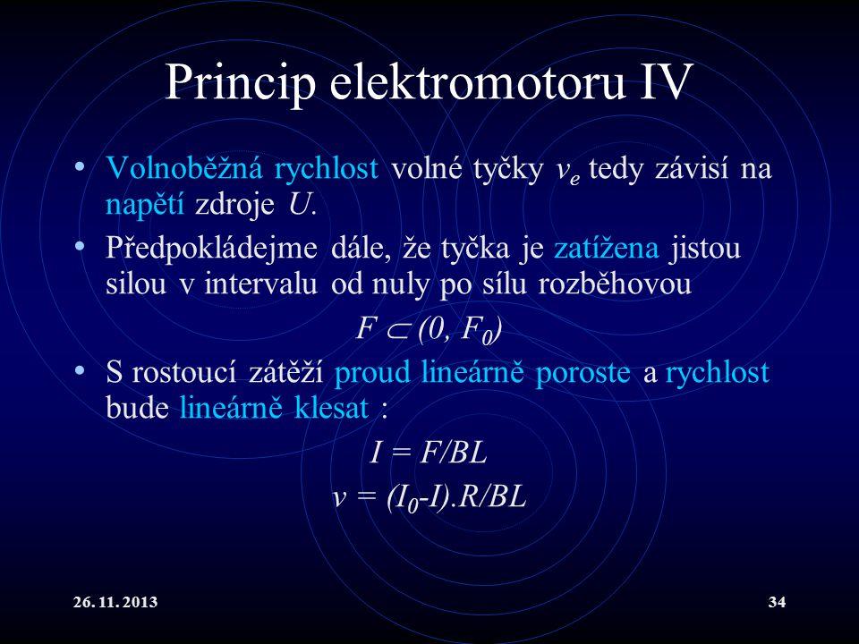 26. 11. 201334 Princip elektromotoru IV Volnoběžná rychlost volné tyčky v e tedy závisí na napětí zdroje U. Předpokládejme dále, že tyčka je zatížena