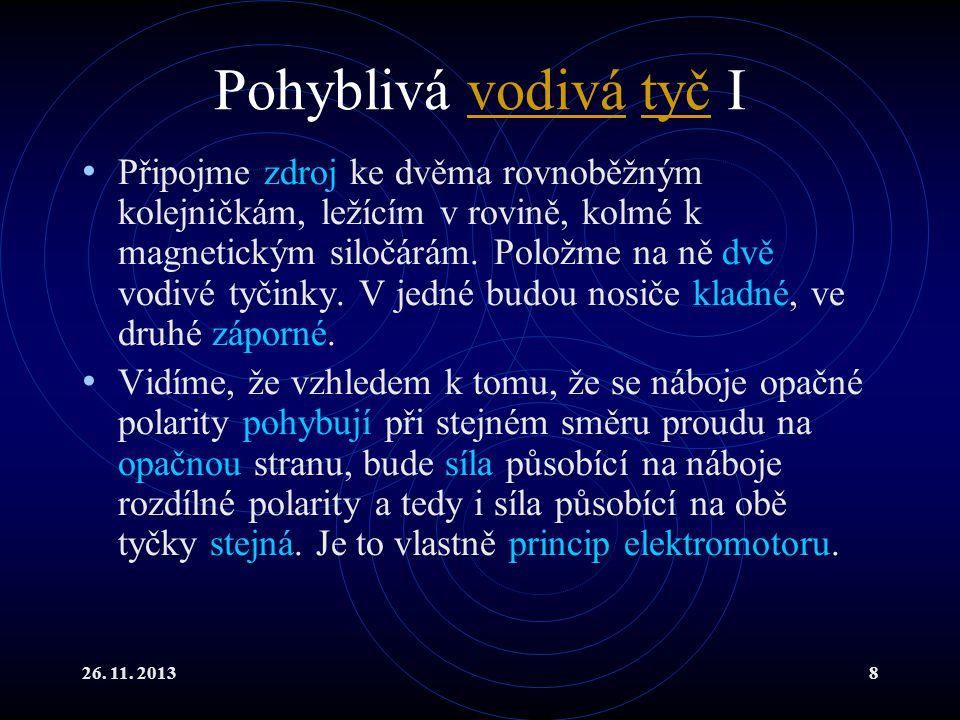 26. 11. 20138 Pohyblivá vodivá tyč Ivodivátyč Připojme zdroj ke dvěma rovnoběžným kolejničkám, ležícím v rovině, kolmé k magnetickým siločárám. Položm