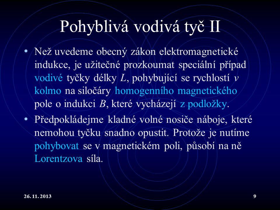 26. 11. 20139 Pohyblivá vodivá tyč II Než uvedeme obecný zákon elektromagnetické indukce, je užitečné prozkoumat speciální případ vodivé tyčky délky L