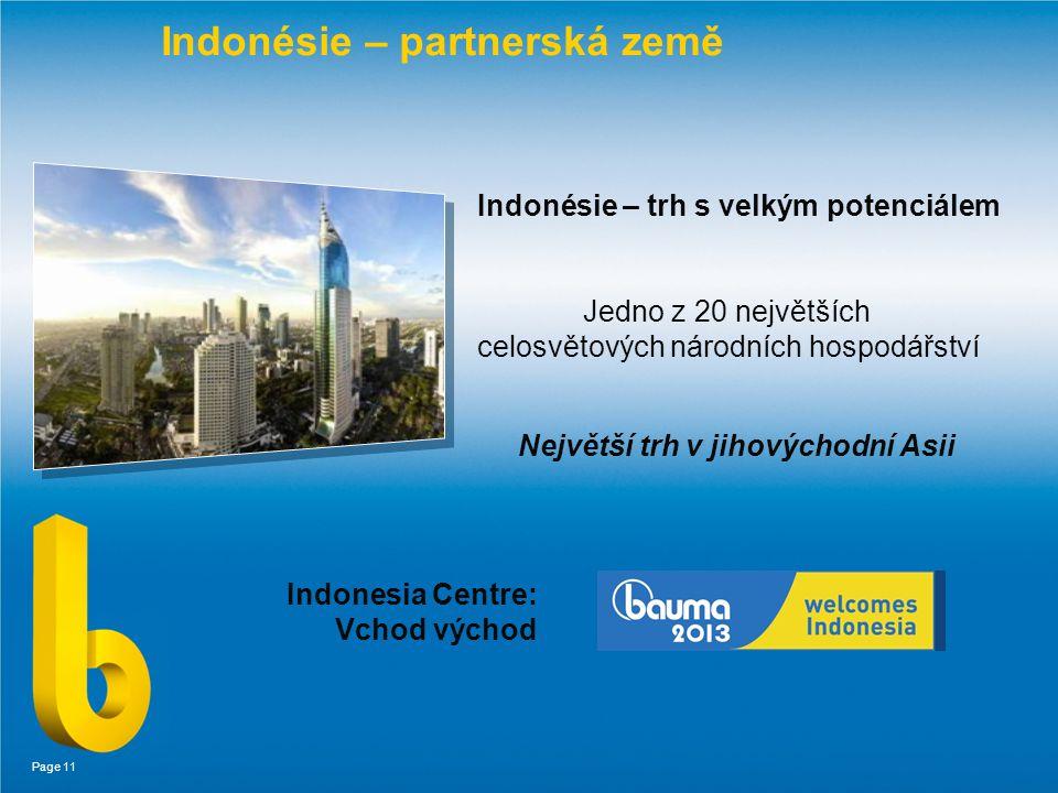 Page 11 Indonésie – partnerská země Indonésie – trh s velkým potenciálem Jedno z 20 největších celosvětových národních hospodářství Největší trh v jihovýchodní Asii Indonesia Centre: Vchod východ