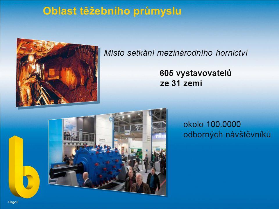 Page 8 Oblast těžebního průmyslu Místo setkání mezinárodního hornictví 605 vystavovatelů ze 31 zemí okolo 100.0000 odborných návštěvníků