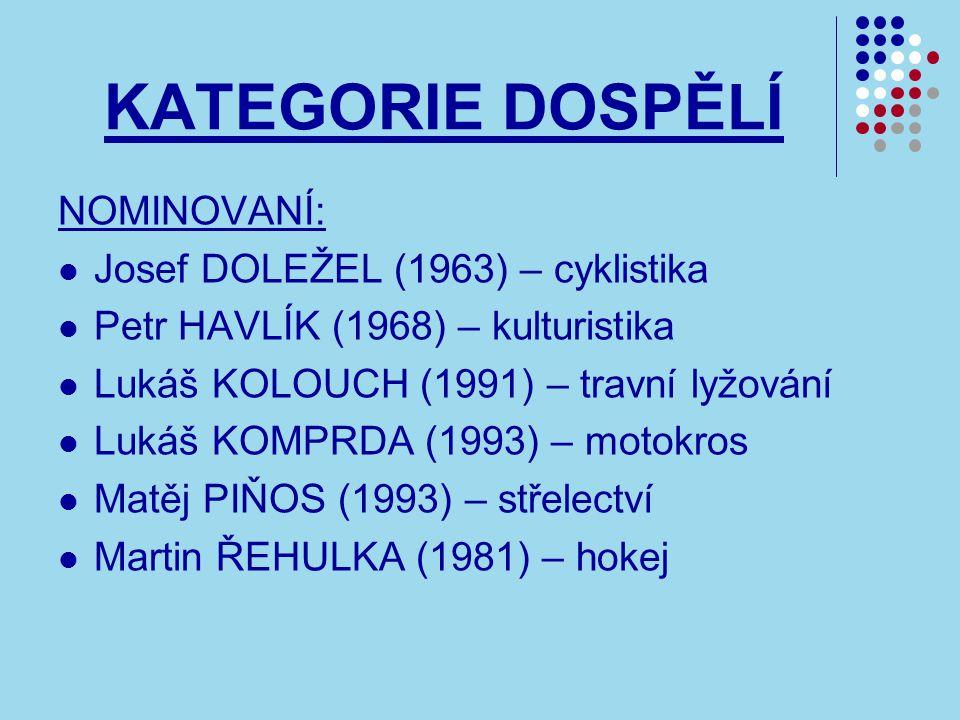 KATEGORIE DOSPĚLÍ NOMINOVANÍ: Josef DOLEŽEL (1963) – cyklistika Petr HAVLÍK (1968) – kulturistika Lukáš KOLOUCH (1991) – travní lyžování Lukáš KOMPRDA (1993) – motokros Matěj PIŇOS (1993) – střelectví Martin ŘEHULKA (1981) – hokej