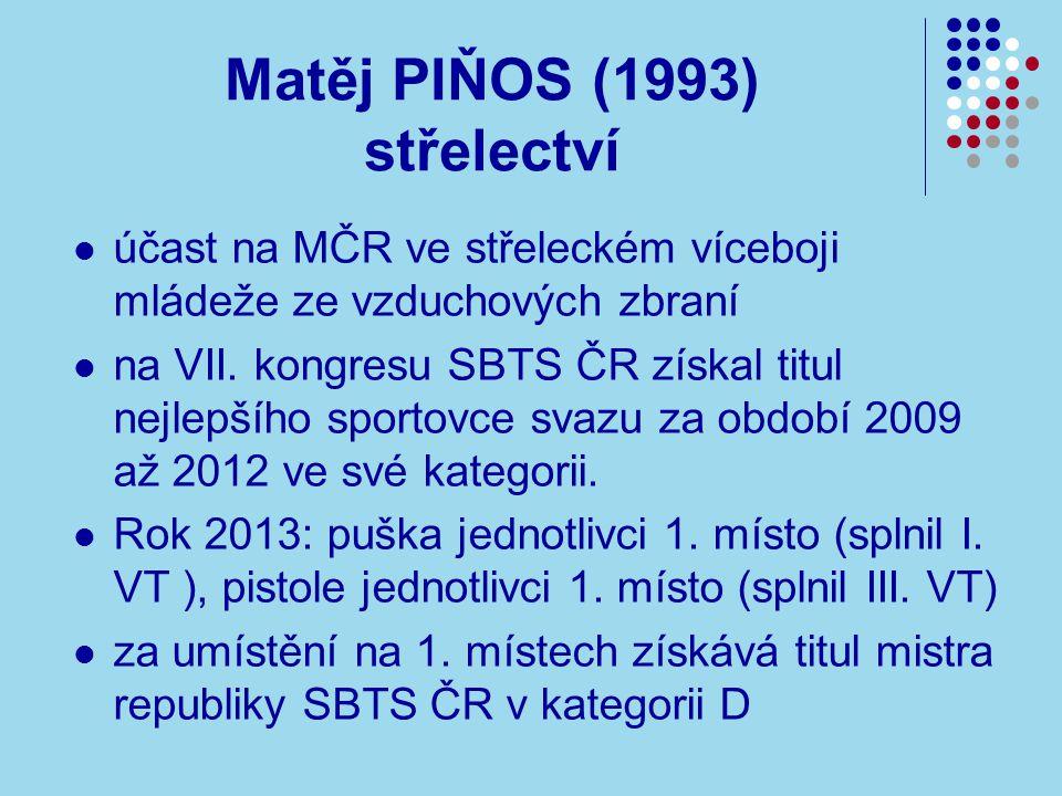 Matěj PIŇOS (1993) střelectví účast na MČR ve střeleckém víceboji mládeže ze vzduchových zbraní na VII.