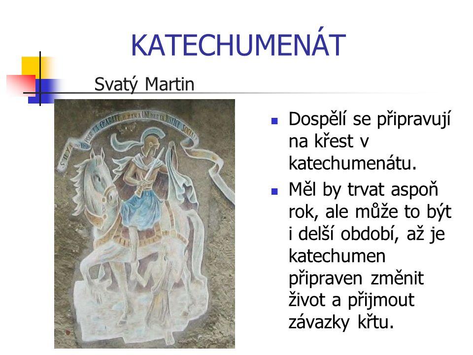 KATECHUMENÁT Svatý Martin Dospělí se připravují na křest v katechumenátu. Měl by trvat aspoň rok, ale může to být i delší období, až je katechumen při