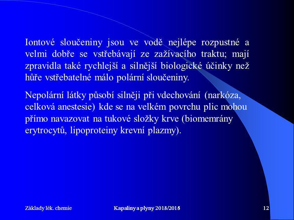 Základy lék. chemieKapaliny a plyny 2014/201512Kapaliny a plyny 2013/201412 Iontové sloučeniny jsou ve vodě nejlépe rozpustné a velmi dobře se vstřebá