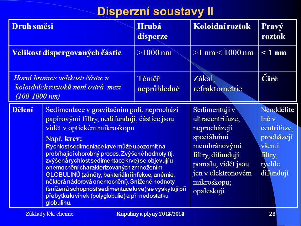 Základy lék. chemieKapaliny a plyny 2014/201528Kapaliny a plyny 2013/201428 Disperzní soustavy II Druh směsiHrubá disperze Koloidní roztokPravý roztok