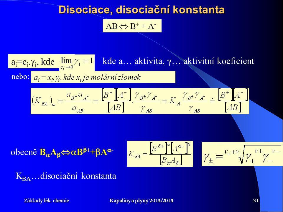Základy lék. chemieKapaliny a plyny 2014/201531Kapaliny a plyny 2013/201431 Disociace, disociační konstanta AB  B + + A - obecně B  A   B  + + 