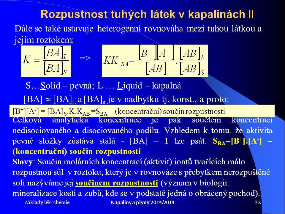 Základy lék. chemieKapaliny a plyny 2014/201532Kapaliny a plyny 2013/201432 Rozpustnost tuhých látek v kapalinách II Dále se také ustavuje heterogenní