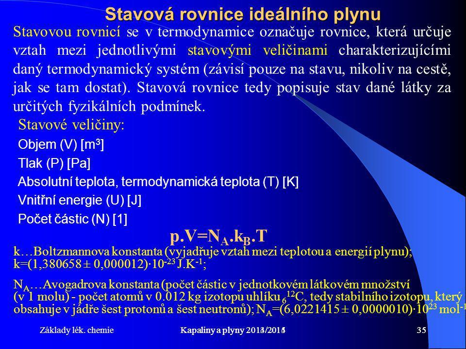 Základy lék. chemieKapaliny a plyny 2014/201535Kapaliny a plyny 2013/201435 Stavová rovnice ideálního plynu Stavovou rovnicí se v termodynamice označu