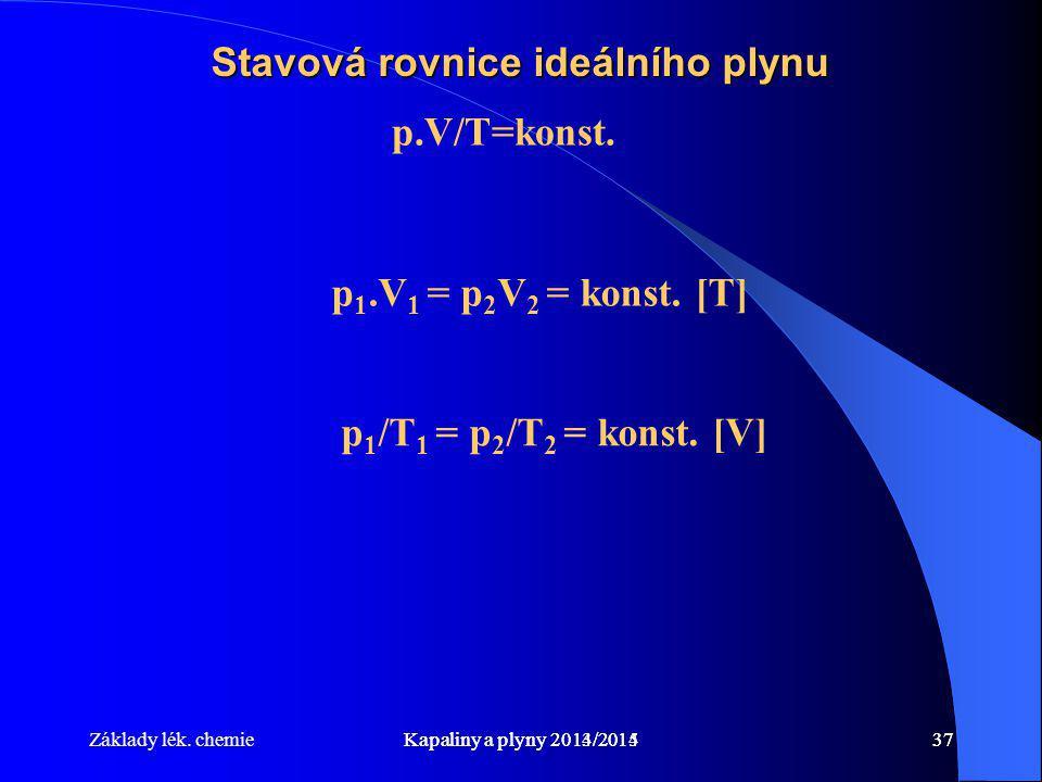 Základy lék. chemieKapaliny a plyny 2014/201537Kapaliny a plyny 2013/201437 Stavová rovnice ideálního plynu p.V/T=konst. p 1.V 1 = p 2 V 2 = konst. [T