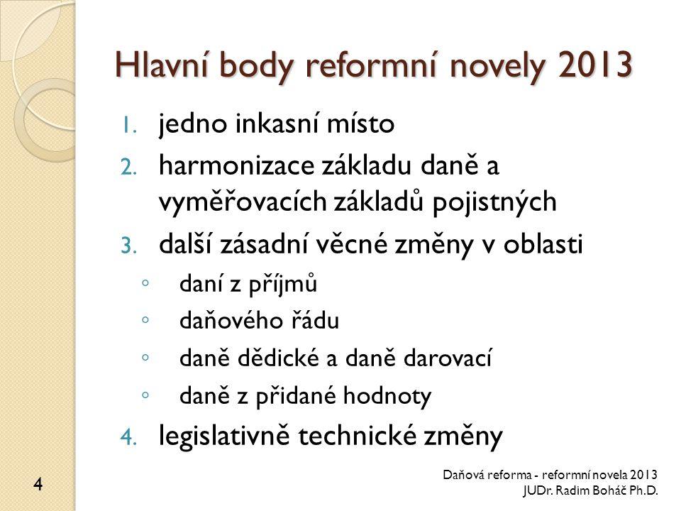 Hlavní body reformní novely 2013 1. jedno inkasní místo 2. harmonizace základu daně a vyměřovacích základů pojistných 3. další zásadní věcné změny v o