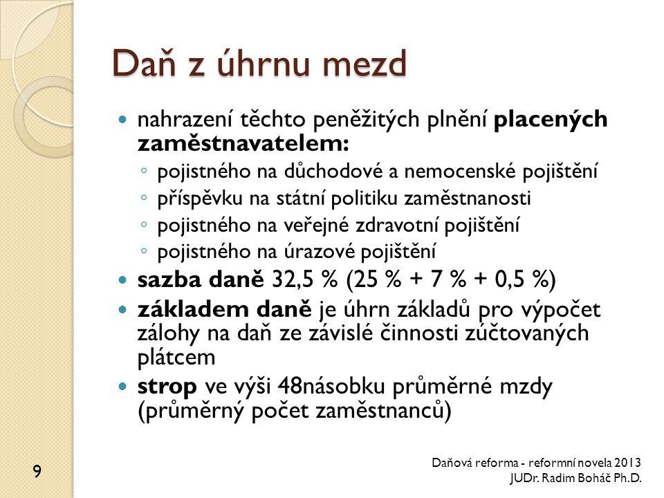Procesní ustanovení jedno podání, jedna platba, jeden účet ◦ poplatník ◦ plátce povinná elektronická forma některých podání správa daní a pojistných orgány Finanční správy České republiky podle daňového řádu 10 Daňová reforma - reformní novela 2013 JUDr.