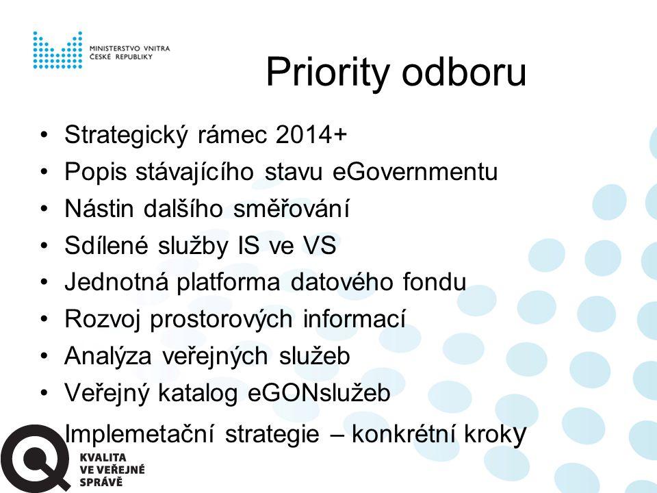 Priority odboru Strategický rámec 2014+ Popis stávajícího stavu eGovernmentu Nástin dalšího směřování Sdílené služby IS ve VS Jednotná platforma datov