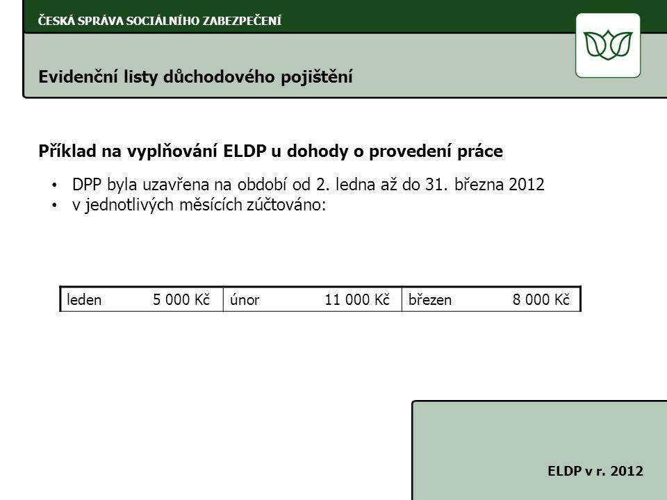 ČESKÁ SPRÁVA SOCIÁLNÍHO ZABEZPEČENÍ Evidenční listy důchodového pojištění ELDP v r. 2012 Příklad na vyplňování ELDP u dohody o provedení práce DPP byl