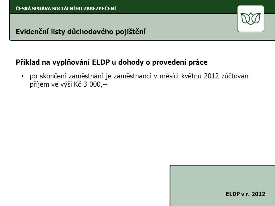 ČESKÁ SPRÁVA SOCIÁLNÍHO ZABEZPEČENÍ Evidenční listy důchodového pojištění ELDP v r. 2012 Příklad na vyplňování ELDP u dohody o provedení práce po skon